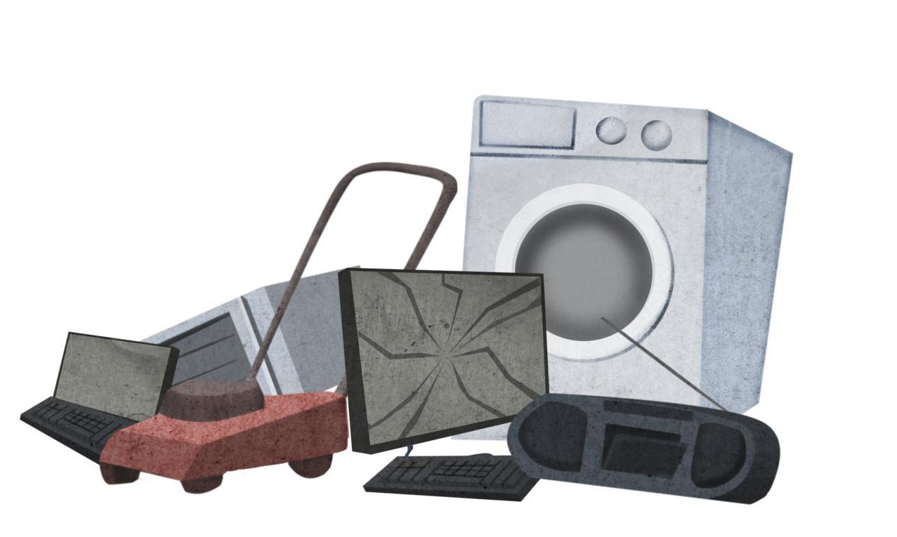 Na ilustraciji so narisani nekateri elektronski odpadki: kosilnica, pralni stroj, radio, monitor, tipkovnica, prenosni računalnik in mikrovalovna pečica.