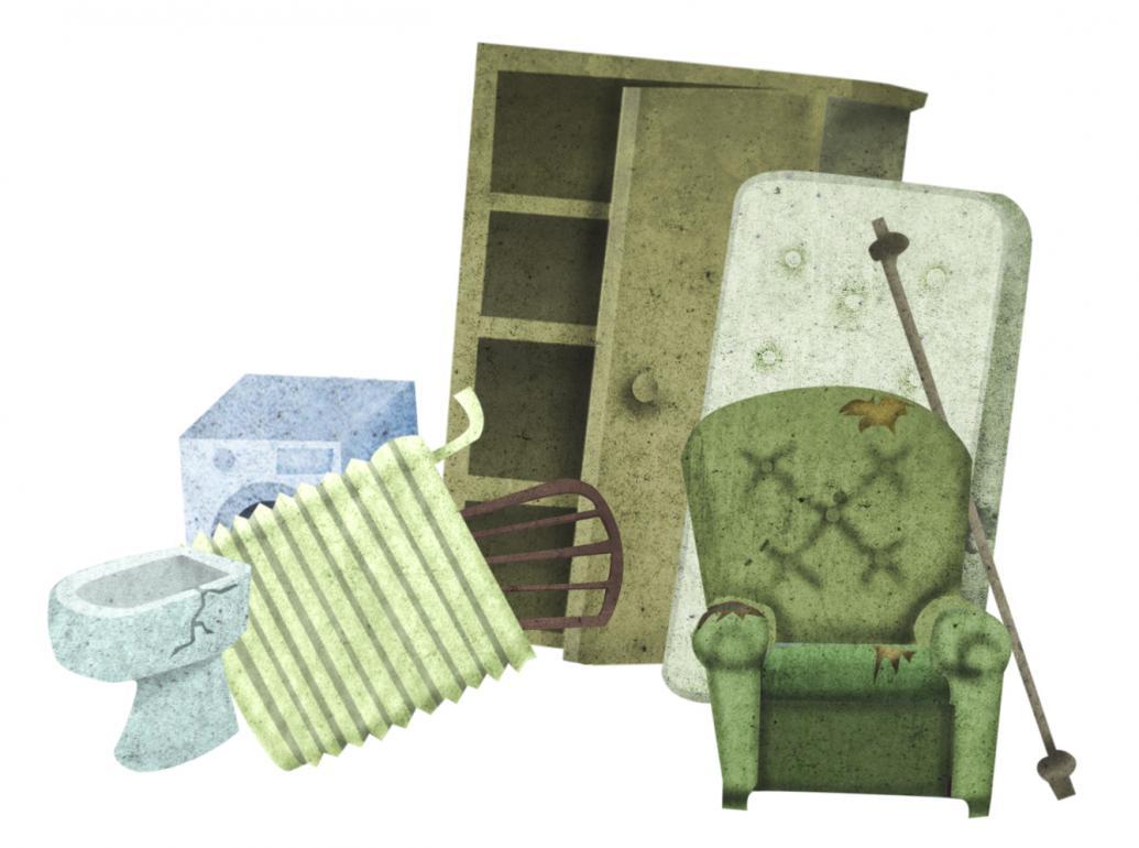 Na sliki so ilustrirani kosovni odpadki: naslonjač, radiator, omara, vzmetnica, pralni stroj in stol.