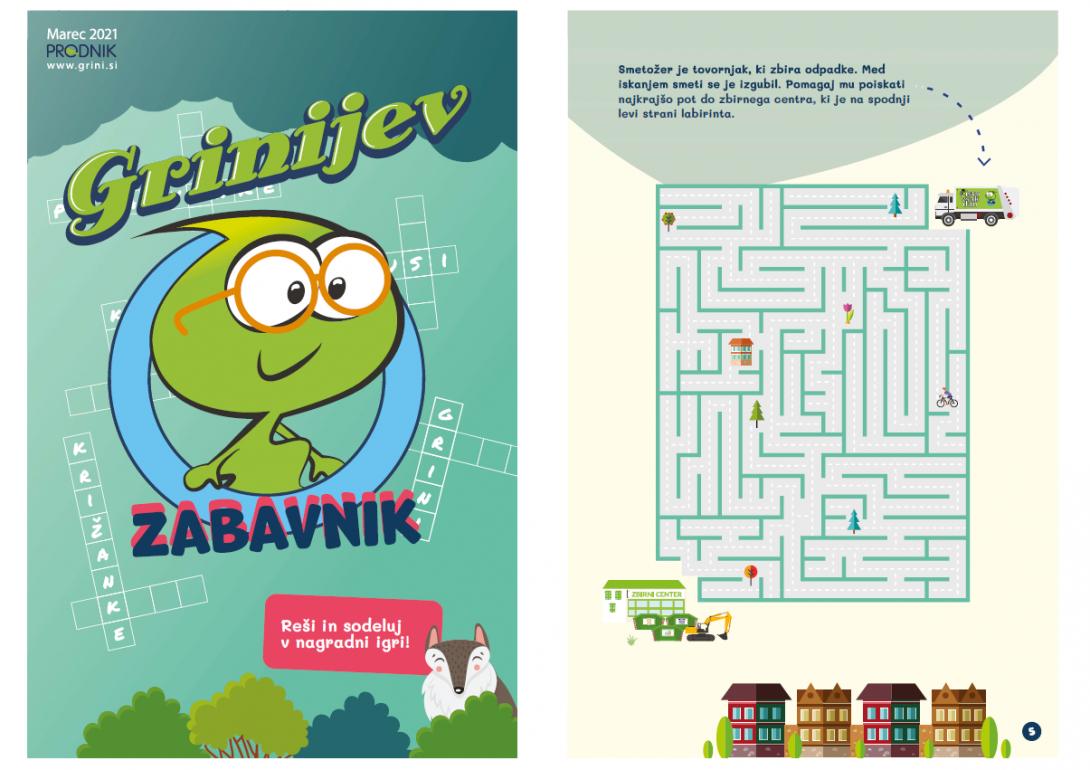 Na sliki je naslovnica Grinijevega zabavnika in labirint.